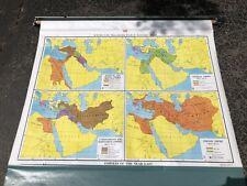 Nystrom Pull Down Map Globe School McNally Vtg Classroom USA Wall World Empires
