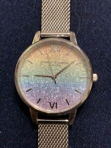 New Olivia Burton Glitter Rainbow Ladies Watch Silver Mesh Strap Midi Small
