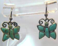 Vintage Barse Sterling Turquoise Butterfly Sheppard's Hook Earrings Butterflies