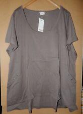 Sheego Damen Shirt Tunika Khaki mit aufgesetzten Taschen Gr.56/58 Übergröße Neu