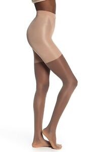 Spanx Womens Size D Super Sheer Pantyhose 20 Den Mild Compression Beige Sand 913