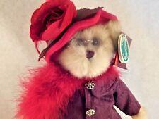 "Bearington Bear 13"" QUEEN FEDORA  Red Dress and Hat Purple Coat Gift Bear"