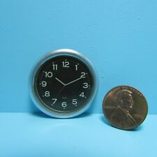 Dollhouse Miniature Modern Wall Clock with Silver Frame and Black G7187