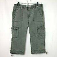 Levi's Womens Olive Green Crop Cargo Pants 6 Pkt 2 w Button and Flap Size 10