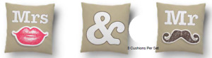 Mr And Mrs Novelty Three Pillow Set With Cushion Insert Included