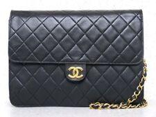 AUTH CHANEL BLACK CLASSIC LAMBSKIN FLAP CC Logo  SHOULDER BAG