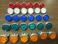 30pc LICENSE PLATE BOLT REFLECTOR BIKE FASTENERS RED BLUE GREEN AMBER CLEAR