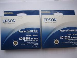 2 X Epson S015262/S015016 LQ-680 Pro Ink Ribbon Original