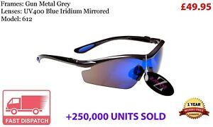 RayZor Uv400 Sports Wrap Sunglasses GunMetal Grey Blue Mirrored Lens RRP£49 (612