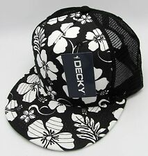 Hawaiian Hibiscus Flower Trucker Snapback Cap Hat Aloha HI Floral Mesh Flat Bill