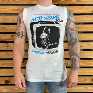Neil Young Solo Fall Tour 1983 Mens Graphic T Shirt White Sleeveless Vintage L