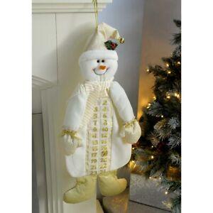 Fabric Snowman Advent Calendar Christmas Decoration Reusable Cream Gold  66cm