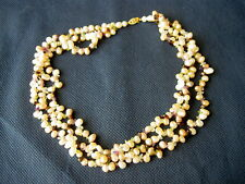 14K MO YELLOW GOLD FRESHWATER PASTEL PEARLS MULTI-GEMSTONE 3-STRAND NECKLACE-17""