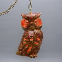 "Vintage 15"" Ceramic Owl Drip Glaze Pottery Hanging Swag Light Lamp Chain"