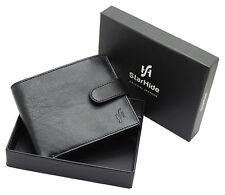 Starhide Mens RFID BLOCKING Zip Coin Pocket Premium Leather Wallet 1100 Black