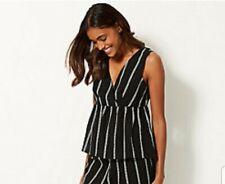 Bnwt M&S Pure Cotton Striped Vest Beach Top Black White Size 12 Tie Back