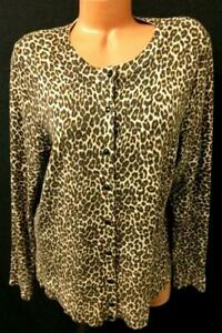 Charter club brown animal print scoop neck button down cardigan sweater top1X