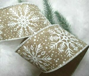 1m x 63mm WIRED CHRISTMAS RIBBON NATURAL WHITE SNOWFLAKES SPARKLE  TREE BOW GIFT