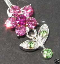 Small Flower - Dangle Belly Bar - Pink & Green Crystals