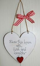 "Wooden heart Plaque Beautiful gift NEW ""Bless this house""with small heart"