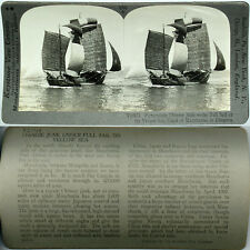 Keystone Stereoview of a CHINESE JUNK, Yellow Sea, CHINA From 600/1200 Card Set