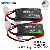 2X Ovonic 450mAh 7.4V 50C 2S Lipo Battery JST Plug for Emax Babyhawk Mini Heli