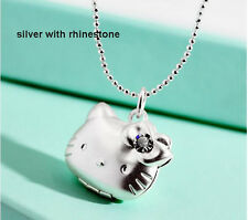 Girl Hello Kitty Photo Frame Pendant Floating Locket Necklace Crystal Jewelry