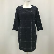 Joules Dress Womens Size UK 12 Navy Blue Checked Patterned Sleeves Formal 301569