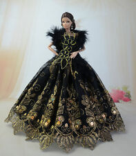 Black Fashion Royalty Princess Dress/Clothes/Gown+Shawl For Barbie Doll S507