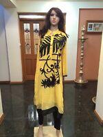 "40"" M Kurti Kurthi Top Boho Tunic Kaftan Indian Bollywood Kurty Yellow Black W25"