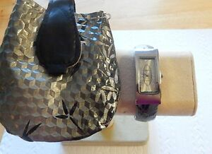 Woman's Cuff Watch with Matching bag- black & gray  band-rectangular face