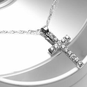 Silver Diamante Cross Necklace Chain Pendant Crystals Alloy Crucifix Unisex UK