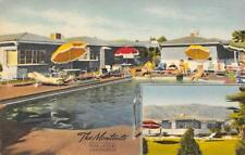 THE MONTECITO Palm Springs, CA Roadside Hotel Swimming Pool 1940s Linen Postcard