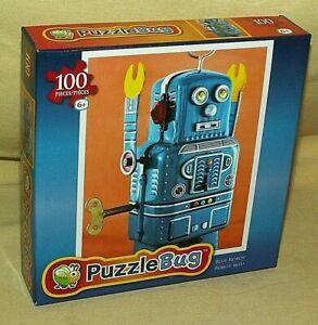 ROBOT PUZZLE PUZZLEBUG BLUE VINTAGE METAL WIND UP 2000 100 PC NEW 2013 BUG LPF.