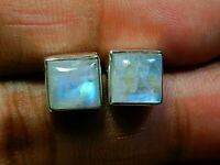 Genuine 925 Solid Sterling Silver With Natural Rainbow Moonstone Stud Earrings