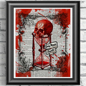 Red Skull Wall Art Print Vintage Dictionary Page Gothic Hourglass Picture