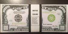 $20,000 In Play Money 1928 $1,000 Bills 20 pieces. Prop Money USA Actual Size!