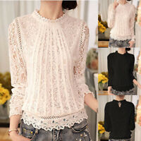 Ladies Lace Long Sleeve T-Shirt Blouse Pullover High Neck Loose Tops Plus Size