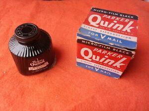 Parker Vintage Quink Bottled Ink-Micro-Film Black 4 oz FULL BOTTLE OLD STOCK