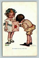 """Katharine Gassaway - Girl & Boy """"My Heart is All for You"""" Letter c1908 Postcard"""