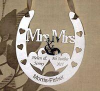 Personalised Mrs & Mrs Wedding Horseshoe Keepsake,Bridal Gift FREE GIFT BAG