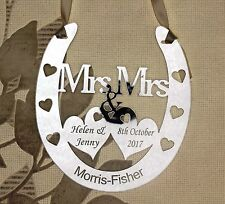 Personalised Mrs & Mrs Wedding Horseshoe Keepsake,Bridal Gift FREE GIFT BAG