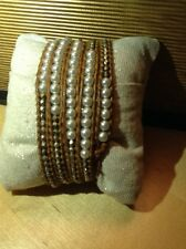 CHAN LUU Agate Pearl Silver Nuggets Beaded Light Brown Leather NWOT $199 Retail