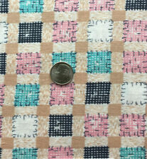 "Vintage Cotton Full Feed Sack Aqua, Pink, Blue, Camel Squares Cheater  44""x 38"""