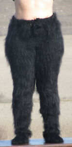 FUZZY MOHAIR Black pants with socks trousers with socks handknit leggings