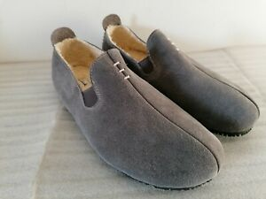 CLARKS KITE FALCON MENS GREY SUEDE WARM LINED SLIPPERS HOUSE SHOES UK SIZE 11