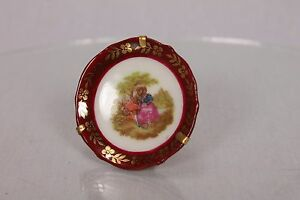 Beautiful Miniature Tiny Collactable Plate Limoges France Souvenir With Mount