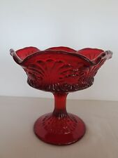 "RARE WESTMORELAND ""SCROLL/EYE #8248  RUBY 5"" CANDY COMPOTE"