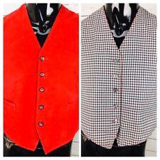Vintage Men's Reversible Checkered/Velvet Vest Waistcoat Rockabilly Size 42