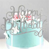 Gold Silver Happy Birthday Cake Topper Wedding Party Supplies DIY Decorations